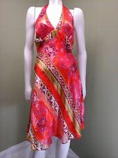 MARY L Couture Women's Orange Multi-Colored Halter Dress~ Size 6