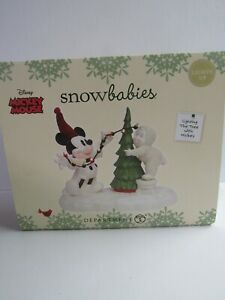 Dept 56 Snowbabies Disney Lighting The Tree With Mickey 6000830