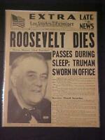 VINTAGE NEWSPAPER HEADLINES ~WORLD WAR 2 PRESIDENT ROOSEVELT FDR DIES WWII 1945
