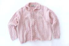 Aran Crafts Women's Irish Winter Wool Cable-knit Pale Pink Full Zip Sweater L