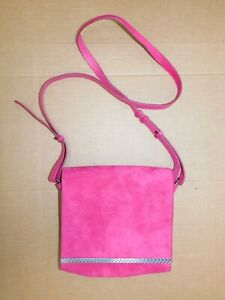 "Faconnable Hot Pink 100% Calf Skin Crossbody Purse (H: 8"" L: 8"")"