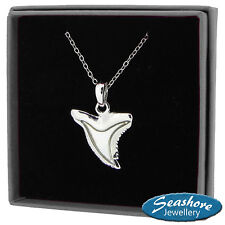 Shark Tooth Necklace Mother of Pearl Shell Pendant Silver Fashion Jewellery 18""