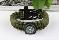 3 in1 Survival Paracord Rope Bracelet Compass Buckle Whistle Kits Useful  JR