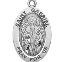 """Saint St. Gabriel Sterling Silver 7/8"""" Oval Medal w 20"""" Chain - Boxed"""