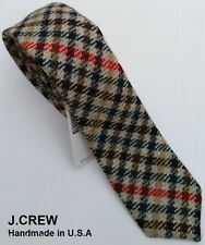 J.CREW wool neck tie check tartan plaid brown tan retro skinny slim vintage 2.5""
