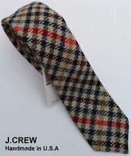 "J.CREW wool neck tie check tartan plaid brown tan retro skinny slim vintage 2.5"""