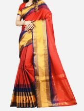 Red Cotton Silk Saree With Stitched matching Blouse Size-34.