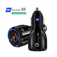 Fast Car Charger QC3.0 Certified Quick 2-USB Port Charge Dual 36W Black