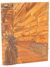 Old Wood Carving 3-d Picture Jew praying Western Wailing Wall Religious Folk Art