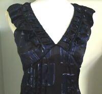 TED BAKER 100% Silk Inky Black Blue Frill Neck Midi Dress Sz 8 Tie Waist Party