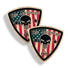 2 Rustic 2nd Amendment USA Skull Flag Sticker Laptop Car Vehicle Window Decal 2A