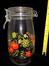 Vintage 'Spice of Life' 1950 ARC Glass Fruit & Mushroom Storage Jar 1.5L*France*