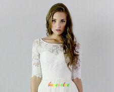 New White Ivory Lace Shawl Bolero Wedding Jacket Bridal 1/2 Sleeves 618 22 - 28