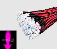 100pcs 5mm 24v Pre Wired led Bulbs lamp Light Water clear 24V 20cm pink