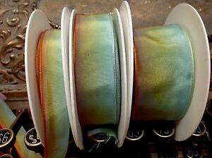 "Vintage Ribbon rayon Acetate Ombre 5/8-7/8-1.5"" Golden Orange Aqua 1yd France"
