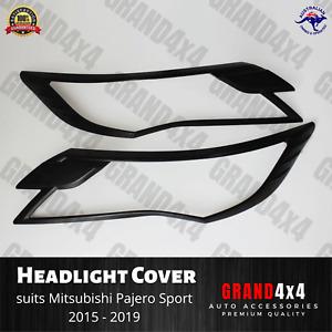 Matte Black Front Light Trim Cover to suit Mitsubishi Pajero Sport 2015 - 2019