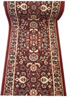 Hallway Runner Carpet Rug Red 67cm Wide Rubber Backed Floral Per Metre Floor New