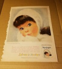 Vintage Magazine Ad - 1960 - Northern Bath Tissue girl white scarf and mittens