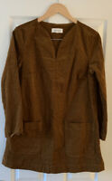 THOUGHT BROWN CORD COTTON TUNIC DRESS UK 10