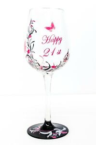 Hand Painted Wine Glass 21st Birthday Gift | Pink for Girl | Personalised