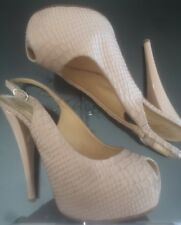 Giuseppe Zanotti Design Snakeskin Nude Open Toe Platform Pumps Size 37
