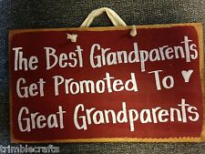 Best Grandparents get promoted to Great Grandparents sign wood gift Personalized