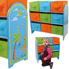REGAL MIT ORDNUNGSFÄCHERN GIRAFFE Kindermöbel Kinderregal Spielzeugkiste Holz