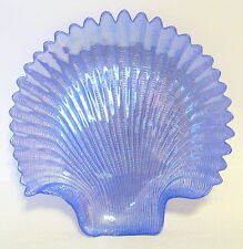Blue Iridescent Sea Shell Plate Shiny Sculptured Realistic 8 to 9 Inch Width