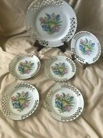 Vintage Reticulated Ceramic Plates Set of Six Tulips Bouquet Made in Romania