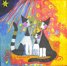 3 x Single Paper Napkins For Decoupage Yellow Blue Bright Cats Family M511