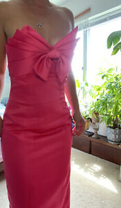 Victor Costa Vintage 80s Hot Pink Silk Strapless Gown Huge Bow Size Small /6