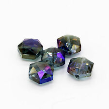 Faceted Polygon Hexagon Glass Crystal Loose Spacer Charm Beads 15mm 5pcs