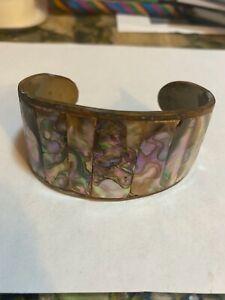 Vintage Brass Abalone Shell Inlay Cuff Bracelet