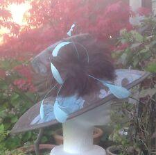 Ladies Formal Hat Wedding Races Ascot Mother of Bride Brown Blue Floral