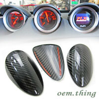 Real Carbon Fiber Dry For Nissan 370Z Z34 2D 3Pcs Interior Gauge Pod Cover Trim