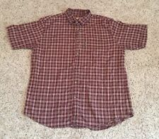 Woolrich Red Black Plaid Check Button Up S/S Camp Casual Shirt Mens Sz XL