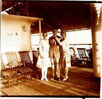 VOYAGE en Egypte Paquebot Bateau c1925, Photo Stereo Vintage Plaque Verre VR4L7n