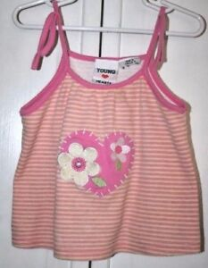 Young Hearts Girl's Cotton Striped Pink & Yellow Tank Top Size Child 5