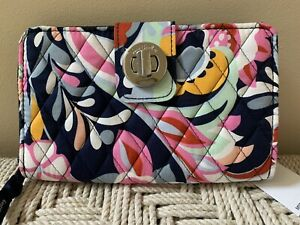 Vera Bradley Mod Paisley Colorful RFID Turnlock Zip-Around Clutch Wallet NWT
