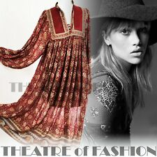 VINTAGE INDIAN DRESS PHOOL SILK 70s WEDDING 8 10 12 14 16 60s HIPPY BOHO GODDESS