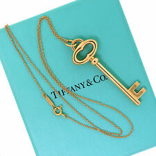 Tiffany&Co Jewelry 18K Yellow Gold Large Classic Oval Key Pendant Chain Necklace