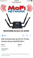 AT&T Unlimited Rural Internet 4G LTE $70/month Wireless Router MOFI4500 SIM 4