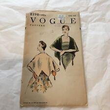 Vtg Vogue 8298 Pattern 1954 Reversible Stole V Design 1950's One size Complete