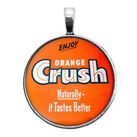 Orange Crush Soda Sign Image Key Ring Necklace Cufflinks Tie Clip Ring Earrings