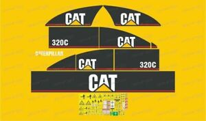 Caterpillar 320C Excavator Decals / Adhesives / Stickers ( Complete Set / Kit )