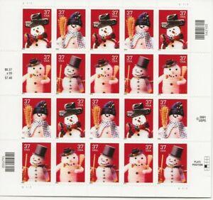 2002 37 cent Christmas Santa full Sheet of 20 Scott #3676-3679, Mint NH