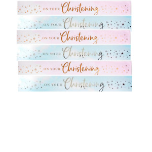 Happy Christening 9ft Foil Banner Party Decorations Blue or Pink Hearts & Stars