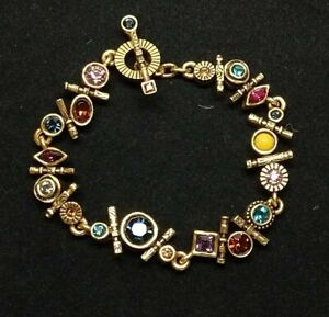 "Patricia Locke 7 5"" Tipsy Bracelet Gold Plt Celebration Fling Swarovski Crystals"