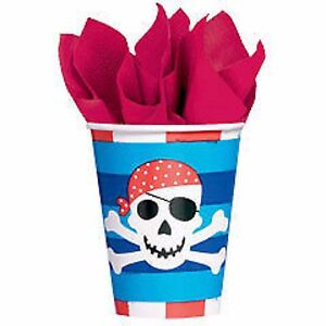 Pirate Party Supplies - Pirate Treasure Paper Party Cups 9oz 8 Pack