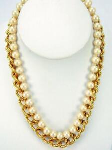 Elegant Anne Klein Gold Tone Chain Link & Imitation Glass Pearl Collar Necklace